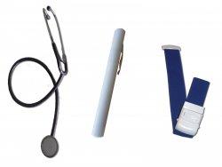 Stethoskop, Diagnostiklampe & Stauschlauch im Set